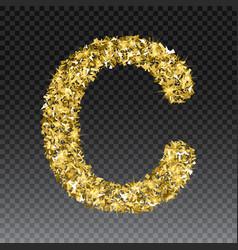 Gold glittering letter c shining golden vector