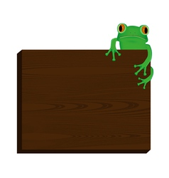 Green tree frog sitting on wood background vector image