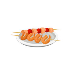 grilled shrimps on a skewer and salmon kebab vector image