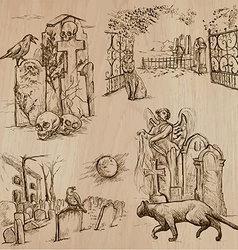 Halloween Cemeteries - An hand drawn pack vector