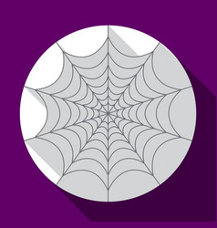 halloween spiderweb flat icon with long shadow vector image