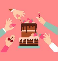 Hand present sweet stuff birthday festive cake vector