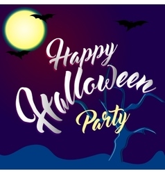 Happy Halloween Party Lettering with Spooky vector