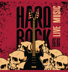 hard rock banner with guitar and human skulls vector image