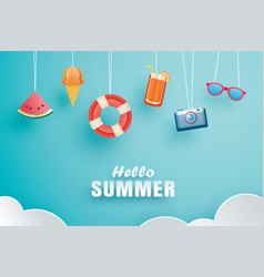 Hello summer with decoration origami hanging on vector