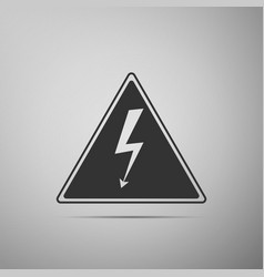 high voltage sign danger symbol warning icon vector image