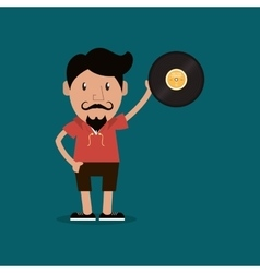 hipster man and vinyl record image vector image