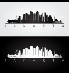 Jakarta skyline and landmarks silhouette vector