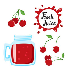 Juice with cherry in a glass bank cartoon vector