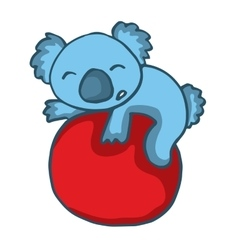 Koala playing big ball cartoon vector