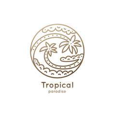 Logo palms yin yang vector