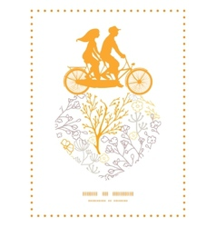 magical floral couple on tandem bicycle vector image