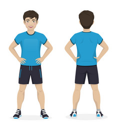 Man playing sport with blue and black sportswear vector