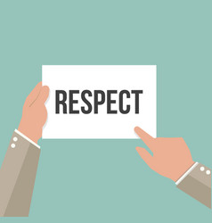 man showing paper respect text vector image