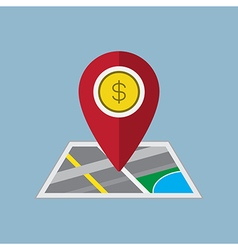 money pin on map vector image