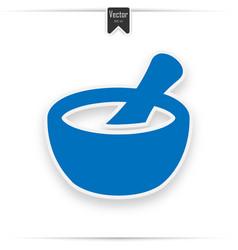 Mortar and pestle icon blue icon design vector
