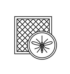 mosquito net icon with window and mosquito vector image