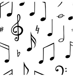 music note seamless pattern black and white vector image