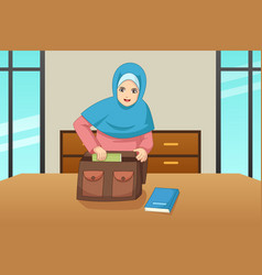 muslim girl putting book inside a bag vector image
