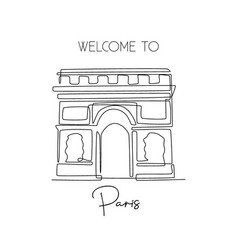 one continuous line drawing arc de triomphe vector image