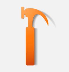Paper clipped sticker construction hammer vector