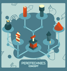 pyrotechnics color isometric concept icons vector image