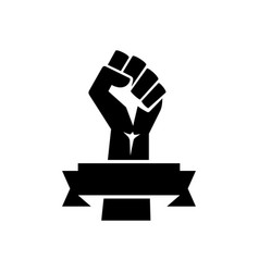 raised fist poster black with ribbon vector image