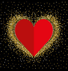 red paper love heart with gold shimmer vector image
