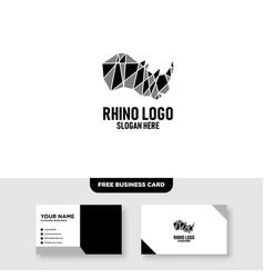 Rhino head polygonal logo design free business vector