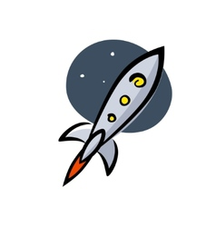 Rocket in space artwork on a white background vector image