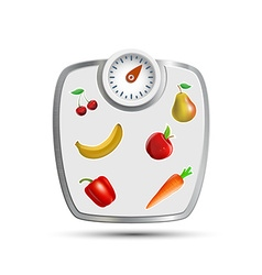 Scales for weighing with fruits and vegetables vector image