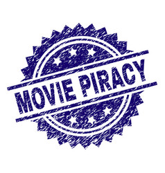 Scratched textured movie piracy stamp seal vector