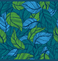 seamless pattern with leaves hand drawn style vector image