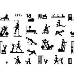 Seamless pattern with women doing exercises vector