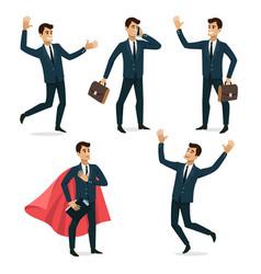 Set of businessman character design vector