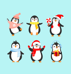 Set of cute penguins in winter vector