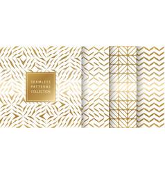 set of golden seamless patterns texture vector image