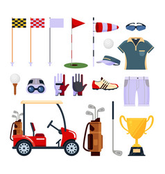set of golf equipment icon logo in flat style vector image