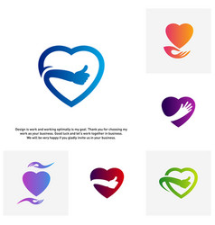 set of love heart icon best love logo concepts vector image