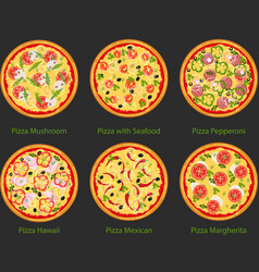 Set of pizza with different ingredients flat vector