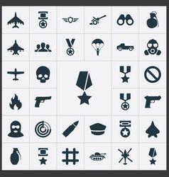 Set simple combat icons elements terrorist tank vector