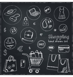 Shopping hand drawn decorative icons set vector image