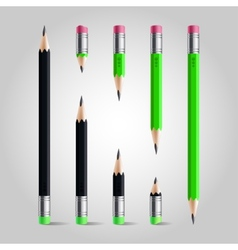 Short and long pencil set vector