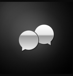 Silver blank speech bubbles icon isolated on black vector