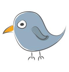 simple cartoon a blue sparrow on white vector image