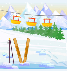 ski winter background snow mountains vector image