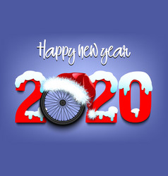 Snowy new year numbers 2020 and bicycle wheel vector