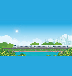 speed train on railway bridge with forest and vector image
