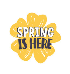 spring is here phrase handwritten with modern vector image vector image