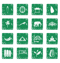 Sri lanka travel icons set grunge vector